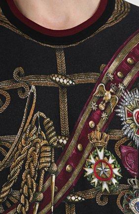 Джемпер с принтом из смеси кашемира и шелка с шерстью Dolce & Gabbana черный | Фото №5