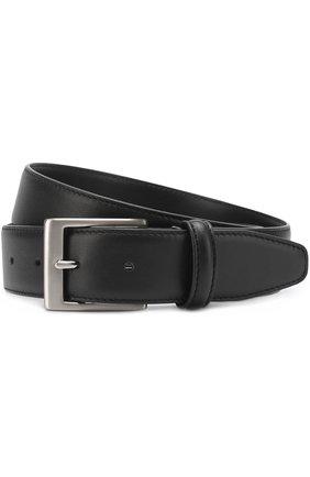 Мужской кожаный ремень  CANALI черного цвета, арт. 50/KA00025 | Фото 1