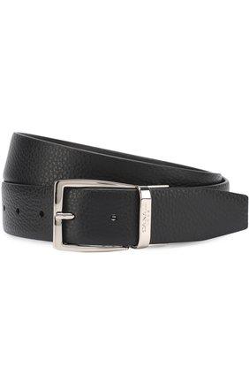 Мужской кожаный ремень CANALI черного цвета, арт. 50/KA00107 | Фото 1