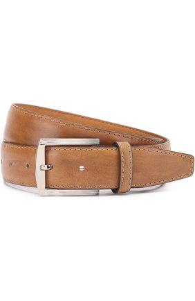 Мужской кожаный ремень с металлической пряжкой KITON светло-коричневого цвета, арт. USC3PN00101 | Фото 1