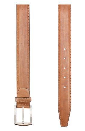 Мужской кожаный ремень с металлической пряжкой KITON светло-коричневого цвета, арт. USC3PN00101 | Фото 2