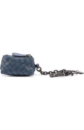 Женский кожаный брелок на молнии с плетением intrecciato BOTTEGA VENETA синего цвета, арт. 474567/V001N | Фото 1