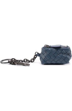 Женский кожаный брелок на молнии с плетением intrecciato BOTTEGA VENETA синего цвета, арт. 474567/V001N | Фото 2