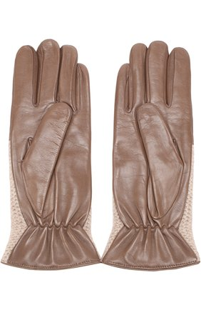 Кожаные перчатки с вязаной отделкой из кашемира Sermoneta Gloves темно-бежевые | Фото №1