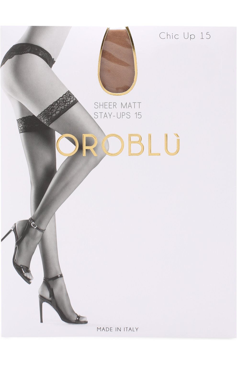 Женские капроновые чулки с кружевной отделкой OROBLU светло-коричневого цвета, арт. V0BC01000   Фото 1