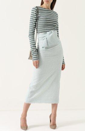 Вязаная юбка-миди с широким поясом и бантом Walk of Shame зеленая | Фото №1