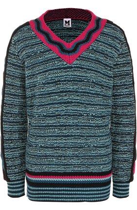 Пуловер фактурной вязки с V-образным вырезом   Фото №1