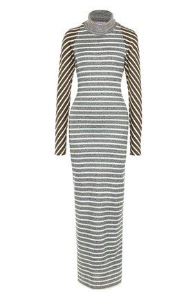 Вязаное платье в полоску с длинным рукавом и открытой спиной Walk of Shame разноцветное | Фото №1