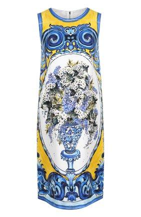 Шелковое платье прямого кроя с принтом Dolce & Gabbana разноцветное | Фото №1