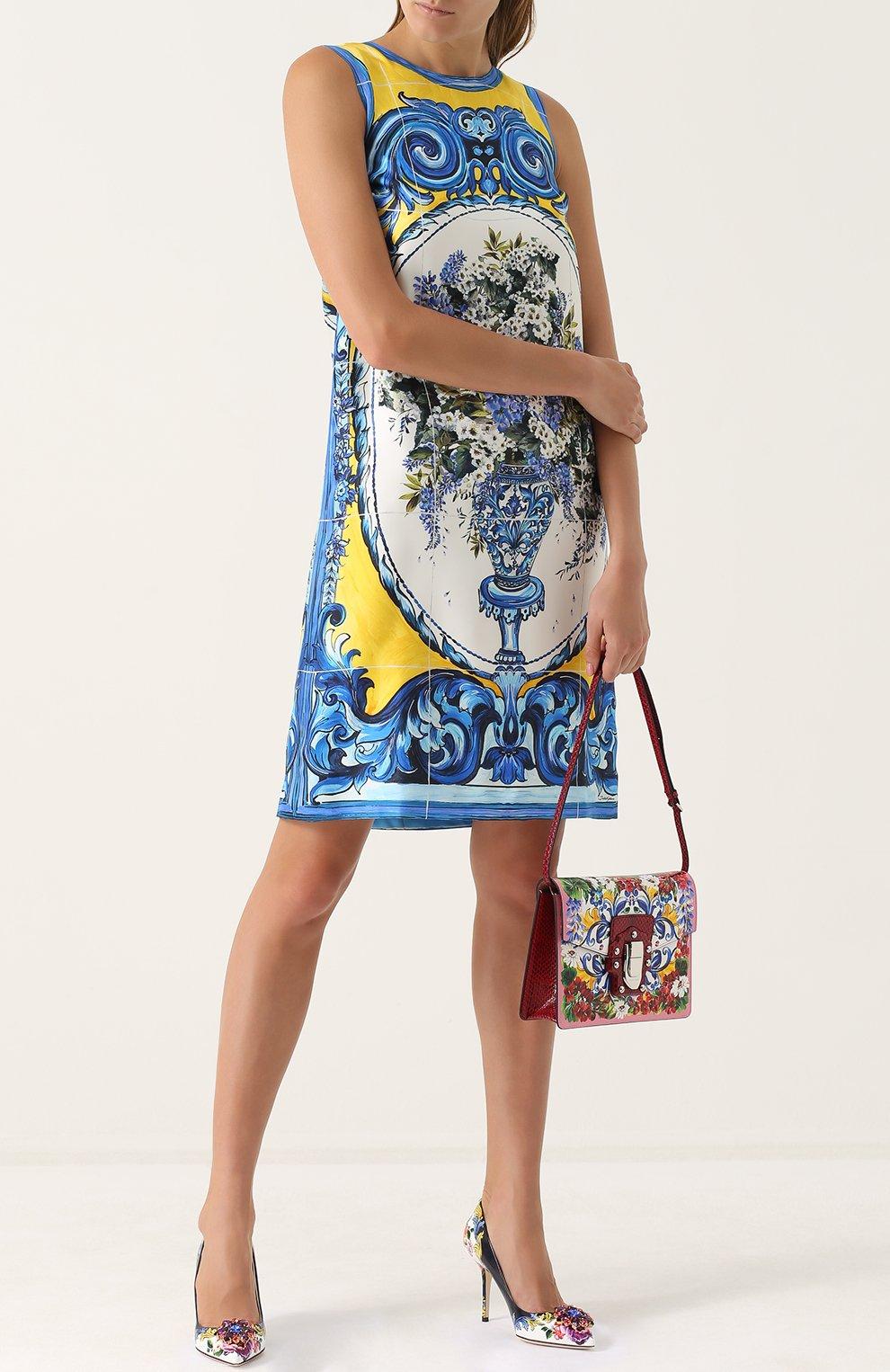 Шелковое платье прямого кроя с принтом Dolce & Gabbana разноцветное | Фото №2