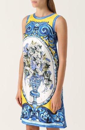 Шелковое платье прямого кроя с принтом Dolce & Gabbana разноцветное | Фото №3