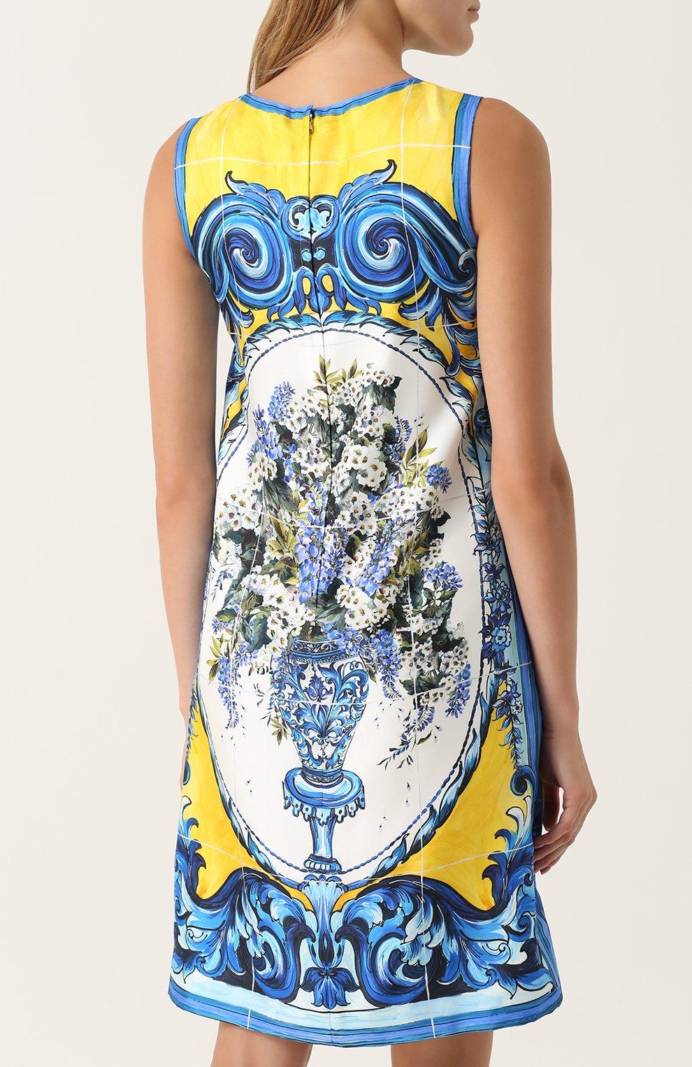 Шелковое платье прямого кроя с принтом Dolce & Gabbana разноцветное | Фото №4