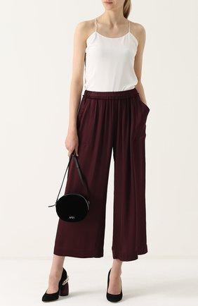 Укороченные широкие брюки с эластичным поясом Raquel Allegra бордовые | Фото №1