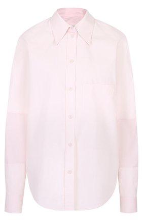 Хлопковая блуза в полоску с накладным карманом | Фото №1