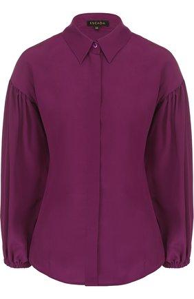 Шелковая блуза с укороченным рукавом-фонарик | Фото №1