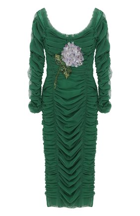 Шелковое платье-футляр с драпировкой и открытыми плечами | Фото №1