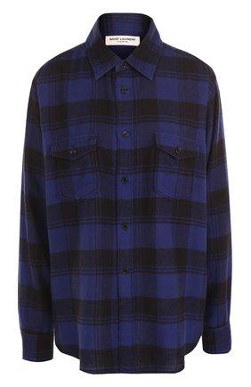Хлопковая блуза в клетку с накладными карманами | Фото №1