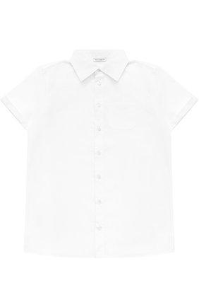 Детская хлопковая рубашка прямого кроя с короткими рукавами Dolce & Gabbana белого цвета | Фото №1