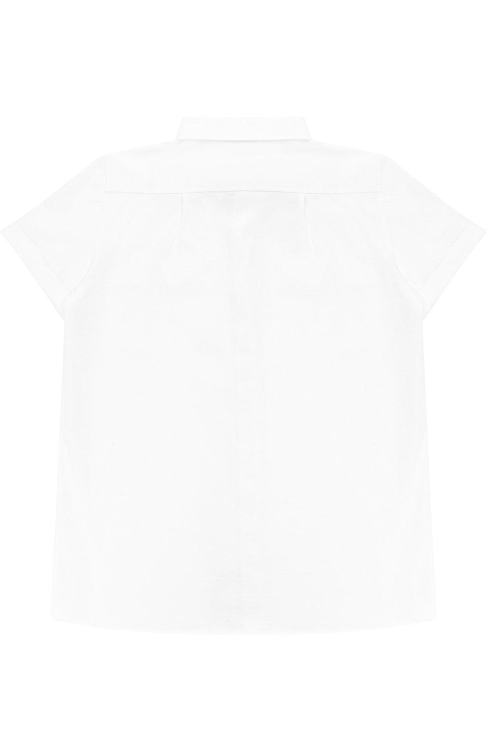 Детская хлопковая рубашка прямого кроя с короткими рукавами Dolce & Gabbana белого цвета | Фото №2