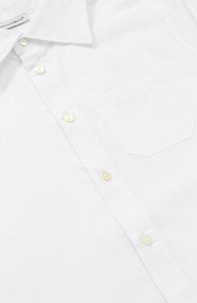 Детская хлопковая рубашка прямого кроя с короткими рукавами Dolce & Gabbana белого цвета | Фото №3