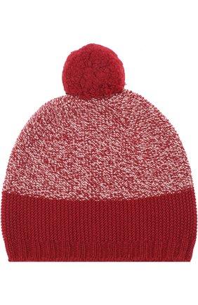 Вязаная шапка из кашемира с помпоном   Фото №1