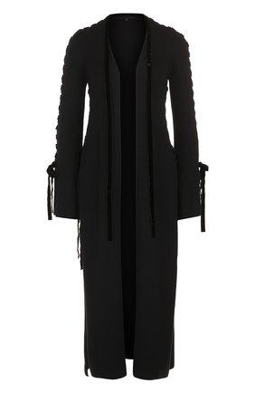 Удлиненный шерстяной кардиган Elie Saab черный | Фото №1