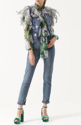 Джинсовый жилет с перьевой отделкой Dolce & Gabbana голубой | Фото №2