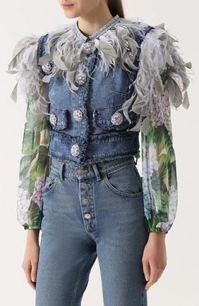 Джинсовый жилет с перьевой отделкой Dolce & Gabbana голубой | Фото №3
