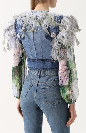 Джинсовый жилет с перьевой отделкой Dolce & Gabbana голубой | Фото №4