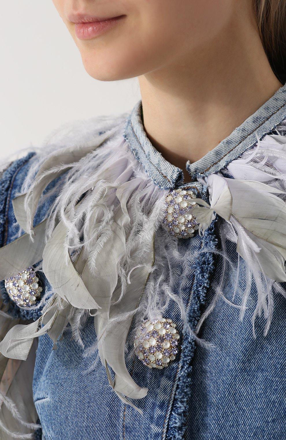 Джинсовый жилет с перьевой отделкой Dolce & Gabbana голубой | Фото №5