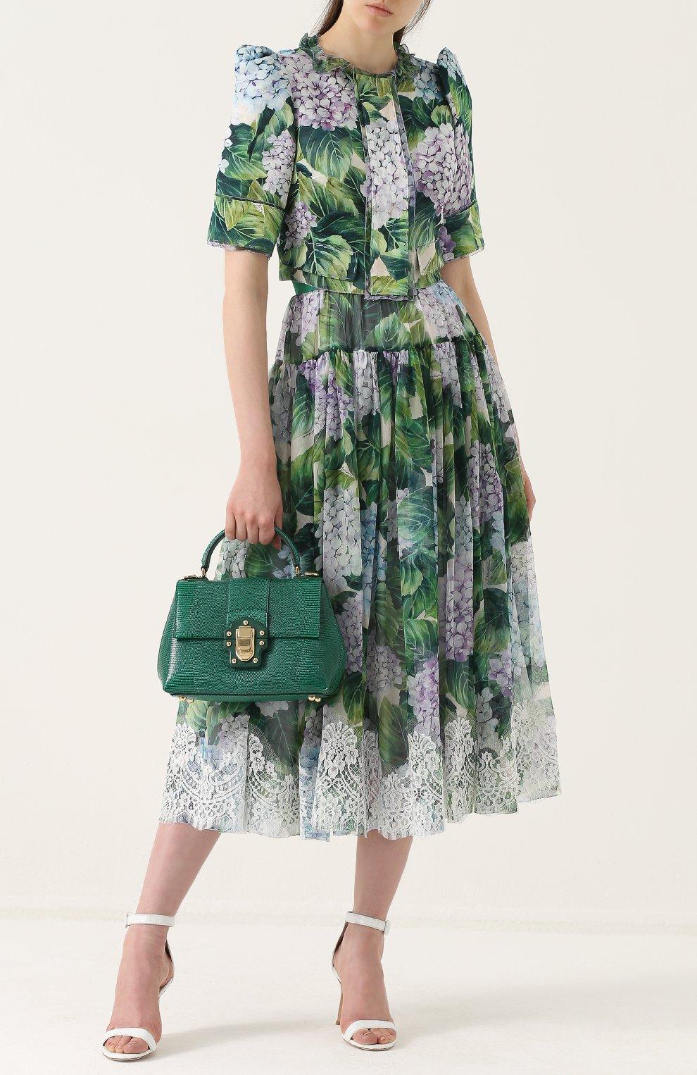 Шелковый жакет с укороченным рукавом-фонарик Dolce & Gabbana зеленый | Фото №2