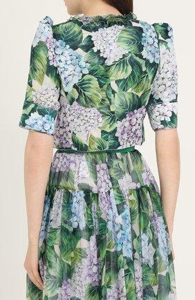 Шелковый жакет с укороченным рукавом-фонарик Dolce & Gabbana зеленый | Фото №4