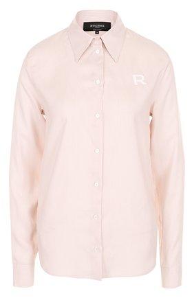 Шелковая блуза прямого кроя в полоску | Фото №1