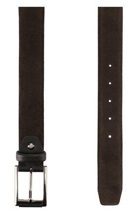 Замшевый ремень с металлической пряжкой Pal Zileri коричневый   Фото №1