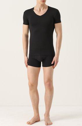 Мужские футболка из вискозы с v-образным вырезом PEROFIL черного цвета, арт. 24351   Фото 2