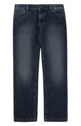 Детские джинсы прямого кроя с нашивкой Dolce & Gabbana синего цвета | Фото №1