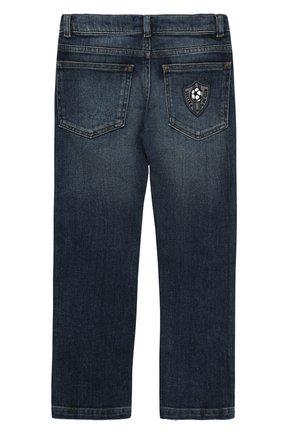 Детские джинсы прямого кроя с нашивкой Dolce & Gabbana синего цвета | Фото №2