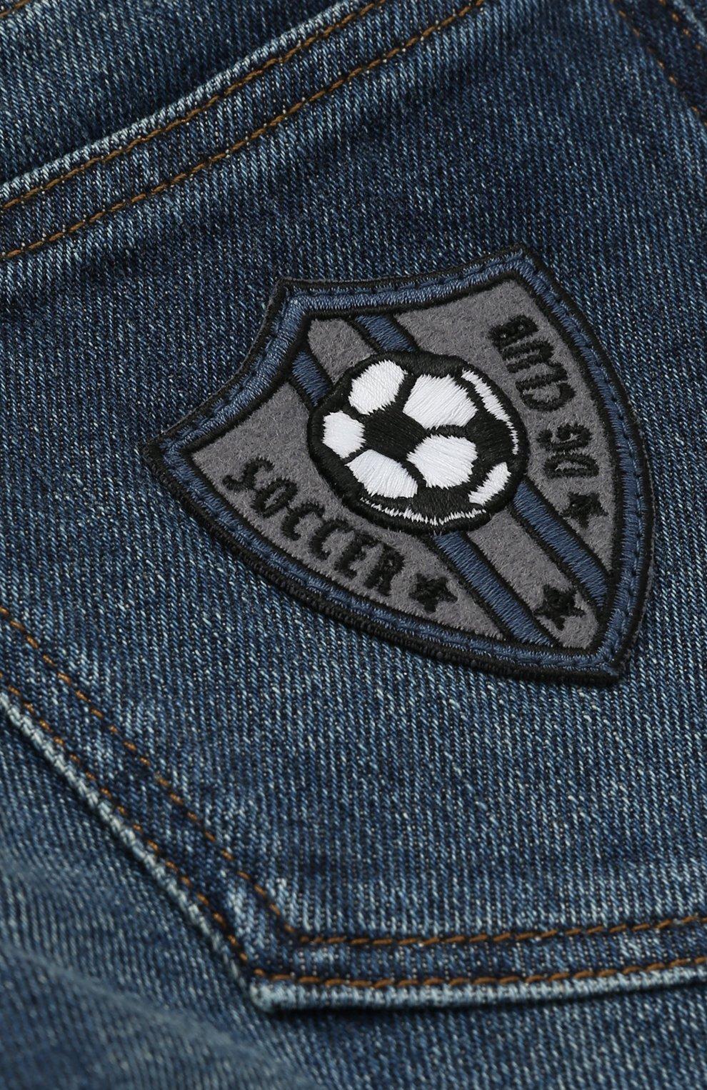 Детские джинсы прямого кроя с нашивкой Dolce & Gabbana синего цвета | Фото №3