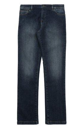 Детские джинсы прямого кроя с нашивкой Dolce & Gabbana синего цвета   Фото №1