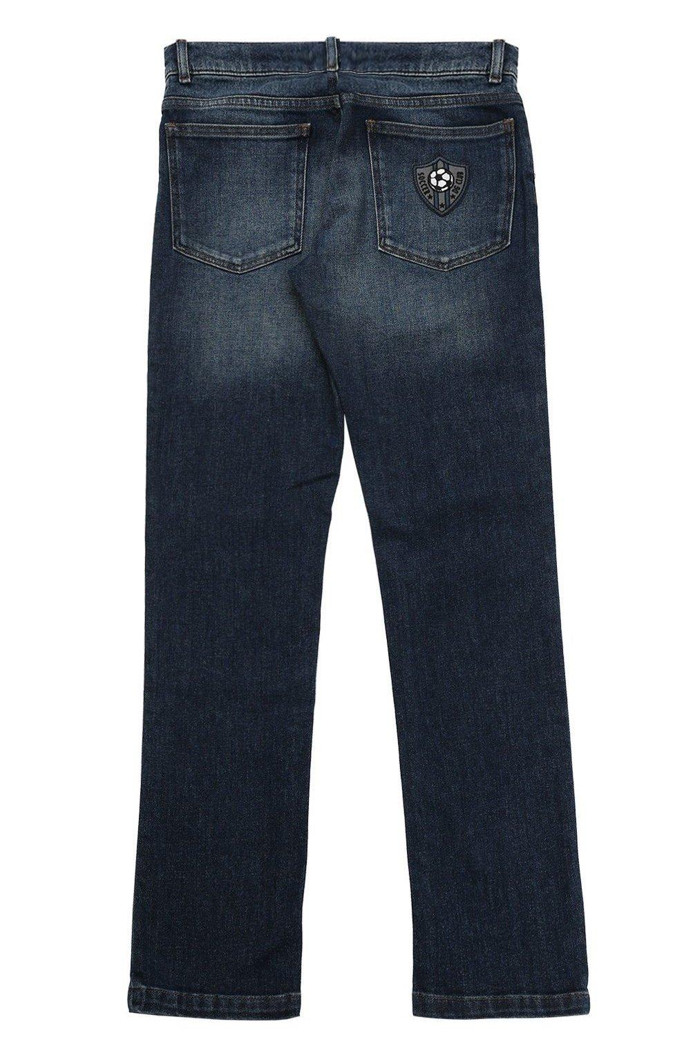 Детские джинсы прямого кроя с нашивкой Dolce & Gabbana синего цвета   Фото №2