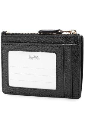 Женский футляр для кредитных карт из зерненой кожи COACH черного цвета, арт. 57841 | Фото 2