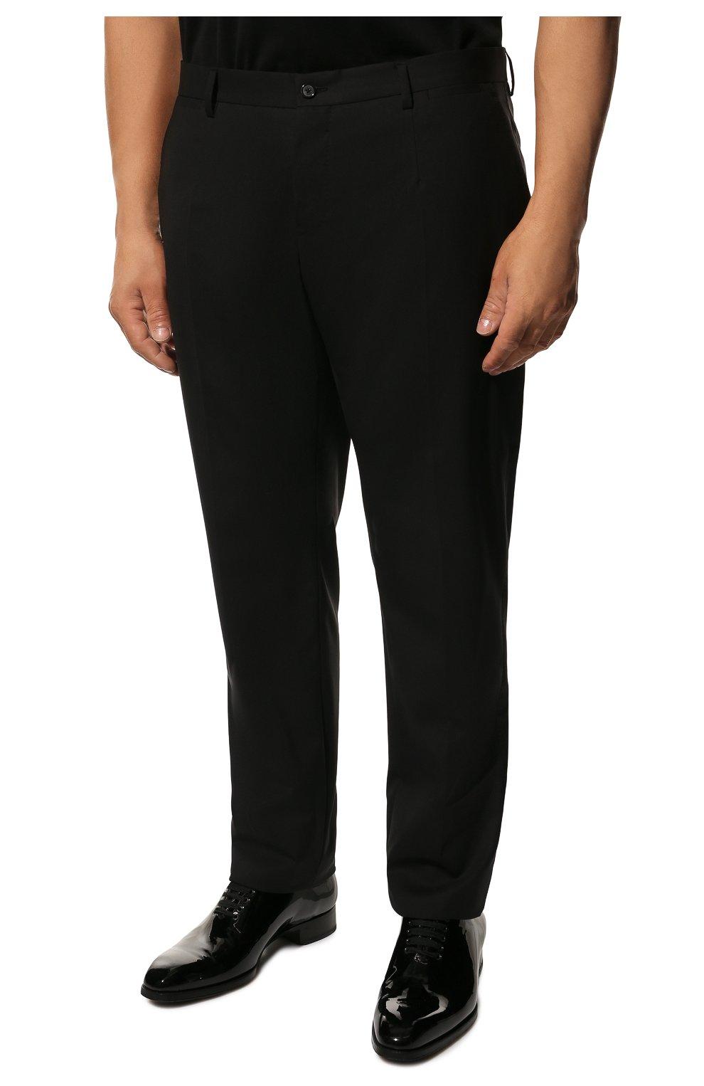 Шерстяные брюки прямого кроя Dolce & Gabbana черные | Фото №3