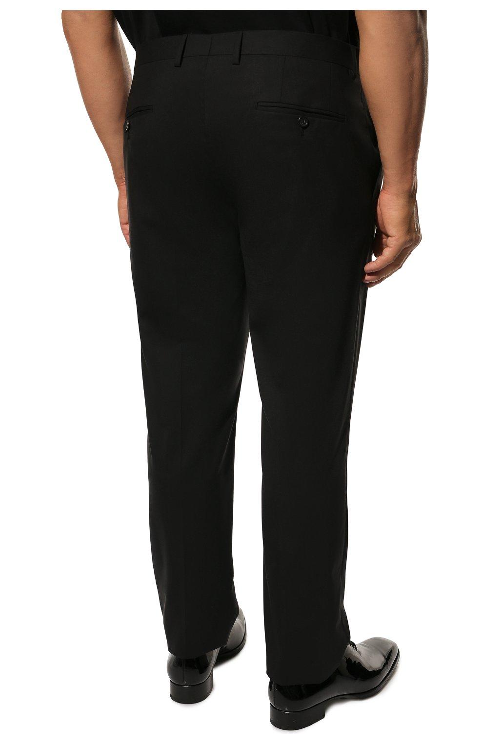 Шерстяные брюки прямого кроя Dolce & Gabbana черные | Фото №4