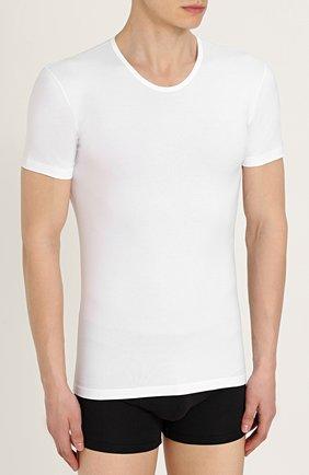 Хлопковая футболка с круглым вырезом   Фото №3