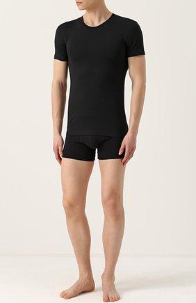Мужские хлопковая футболка с круглым вырезом PEROFIL черного цвета, арт. 24147   Фото 2