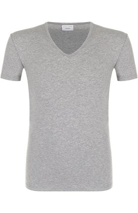 Хлопковая футболка с V-образным вырезом | Фото №1