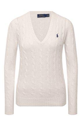 Женский пуловер из шерсти и кашемира POLO RALPH LAUREN кремвого цвета, арт. 211508656 | Фото 1