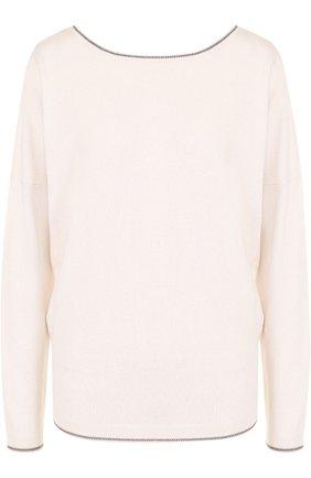 Пуловер прямого кроя с V-образным вырезом на спинке | Фото №1