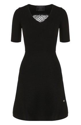 Вязаное мини-платье с декорированной спинкой