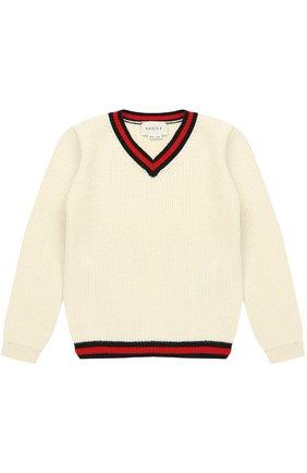 Кашемировый пуловер с контрастной отделкой | Фото №1